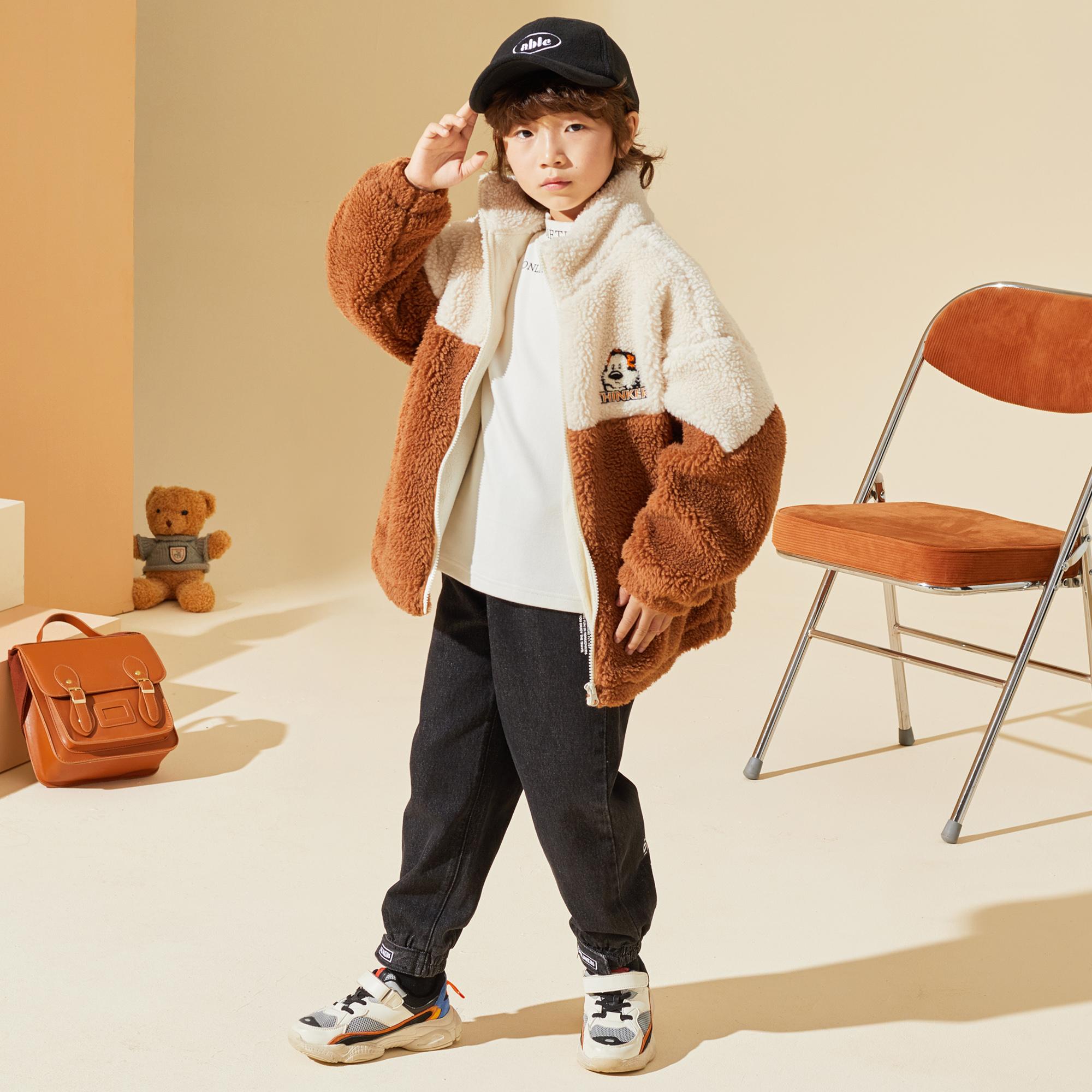 男童加绒外套秋冬2021新款儿童羊羔绒加厚上衣保暖冬季童装