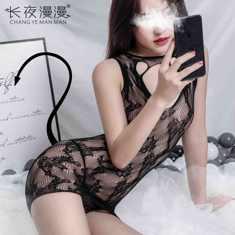 Long night fun net clothes embroidered fun net stockings skirt bed one-piece stockings hollow temptation one-piece stockings