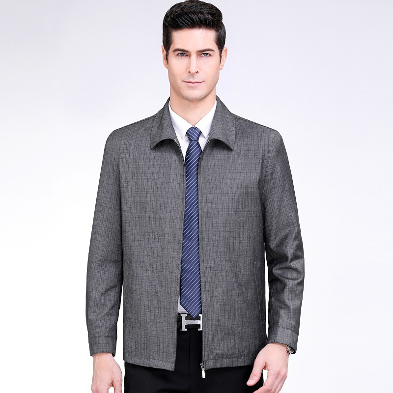 New 2020 spring middle aged and old mens jacket business casual Lapel Plaid Wool jacket jacket mens jacket