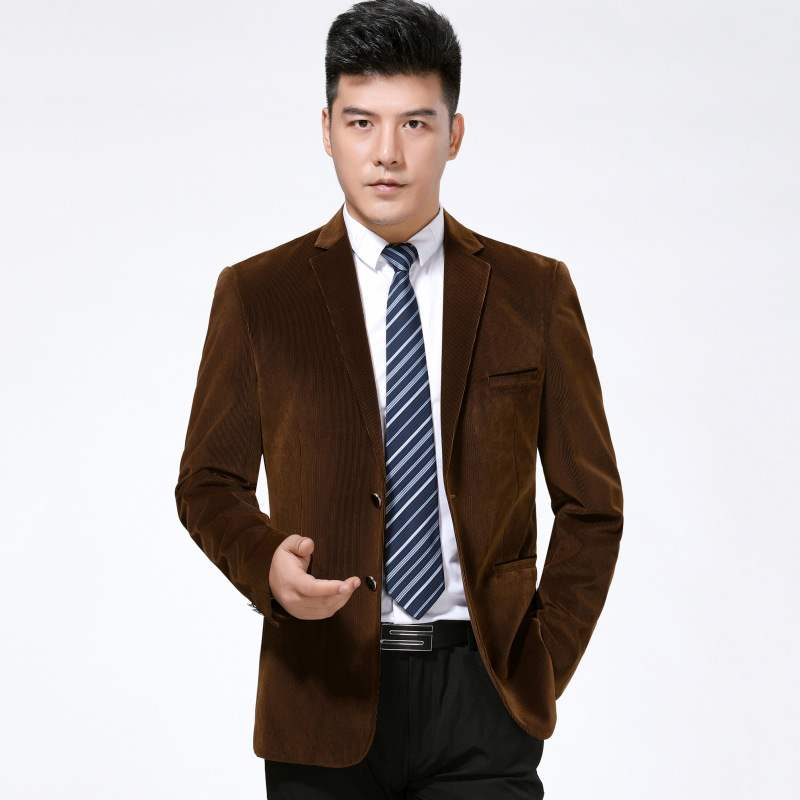 New autumn and winter mens suit fashion leisure middle aged wool single suit stripe fashionable mens coat one grain double breasted