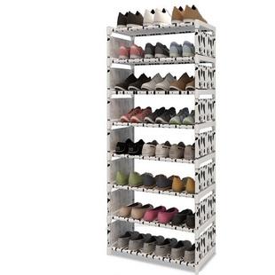 简易防潮防尘不锈钢鞋架铁艺多层组装收纳鞋架