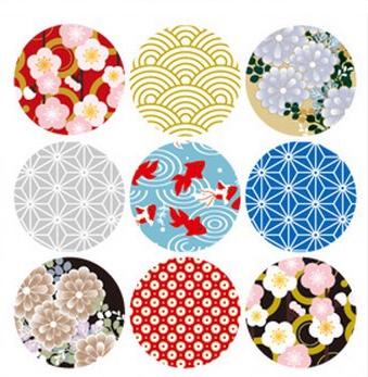 日式印花贴/传统日本和风花纹封口贴/圆形万用贴纸礼物包装贴纸