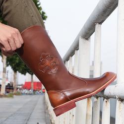 马靴男高筒靴子男高帮长筒牛仔靴男士演出潮流骑马蒙古靴子男加绒