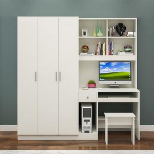 电脑台式桌带衣柜一体加书架卧室学生写字台儿童连体书桌柜子组合