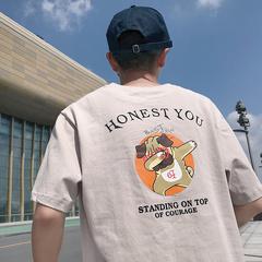 TX088-P35  夏季麻棉短袖T恤情侣嘻哈bf风印花半袖学生衣服