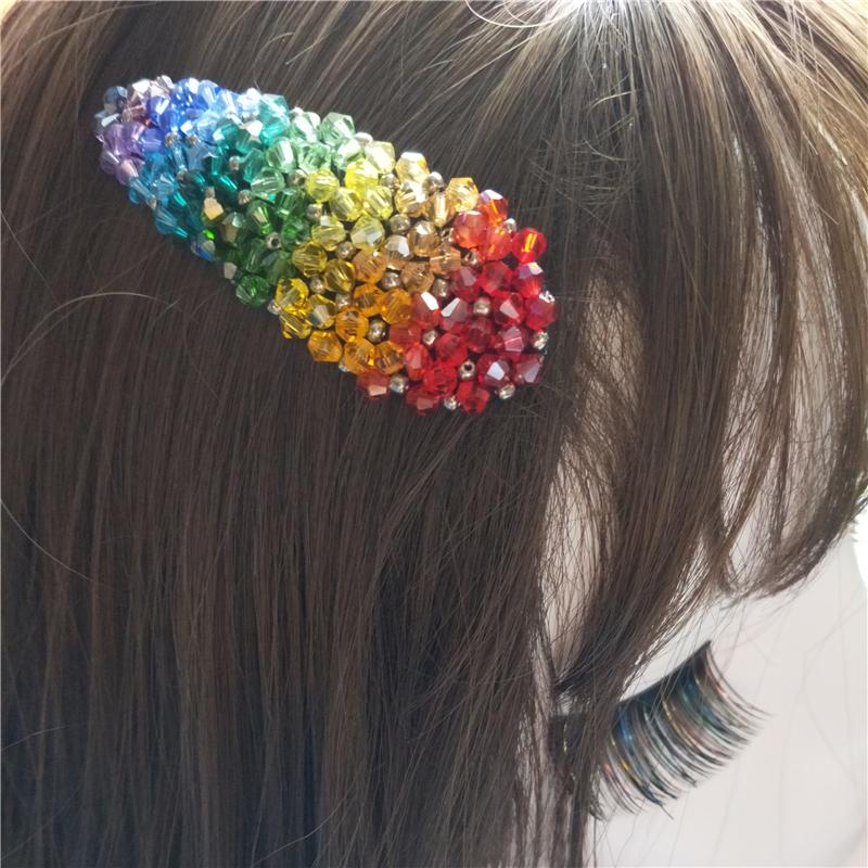 Meiya hand made crystal beaded BB clip Japanese girls hair clip childrens Rainbow net red hair accessories