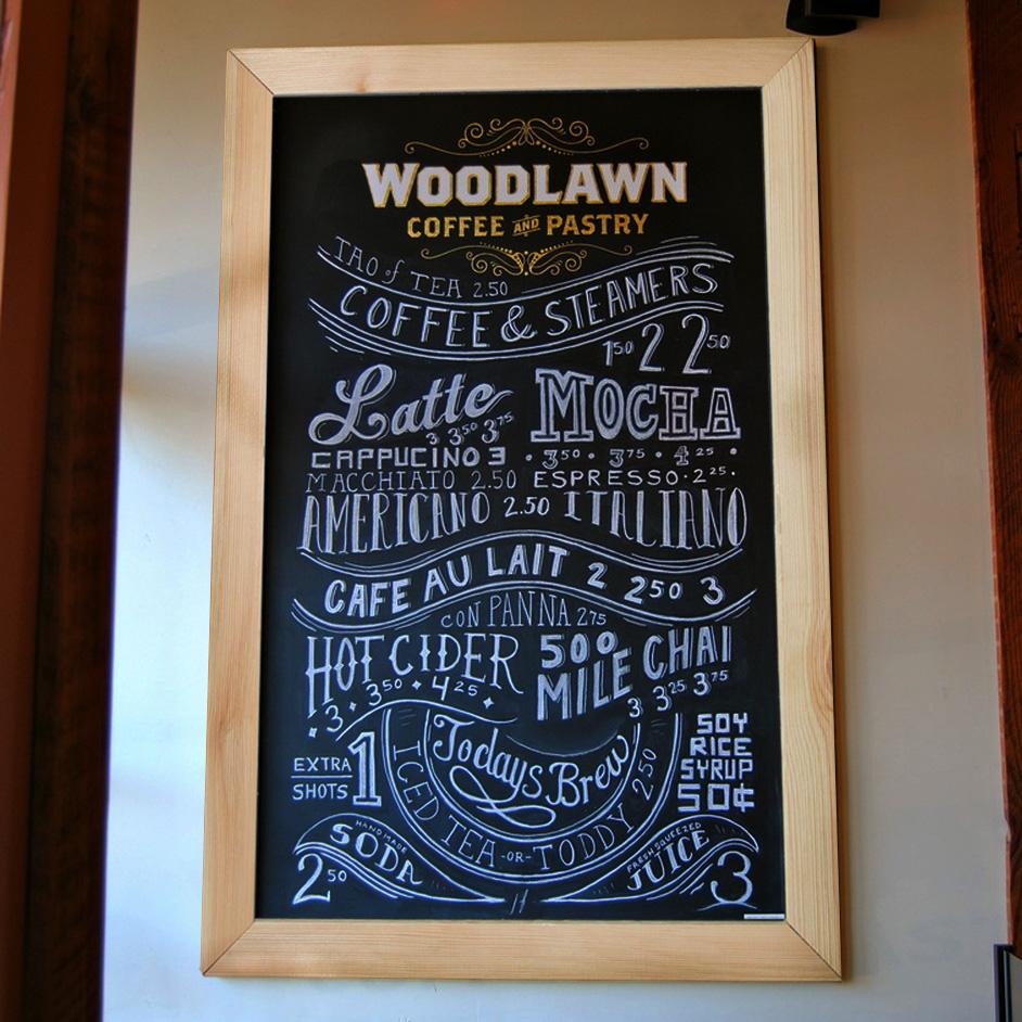 田园风格原木大宽边框挂式黑板 星巴克咖啡厅酒店奶茶铺文艺餐厅