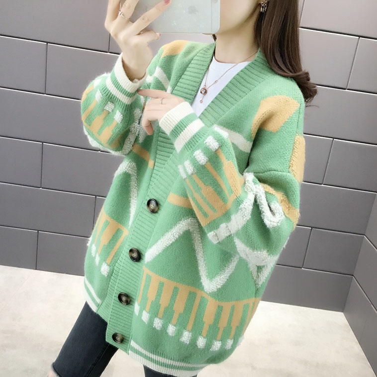 College style sweater coat womens new fall 2019 womens clothing Korean single breasted sweater womens cardigan top