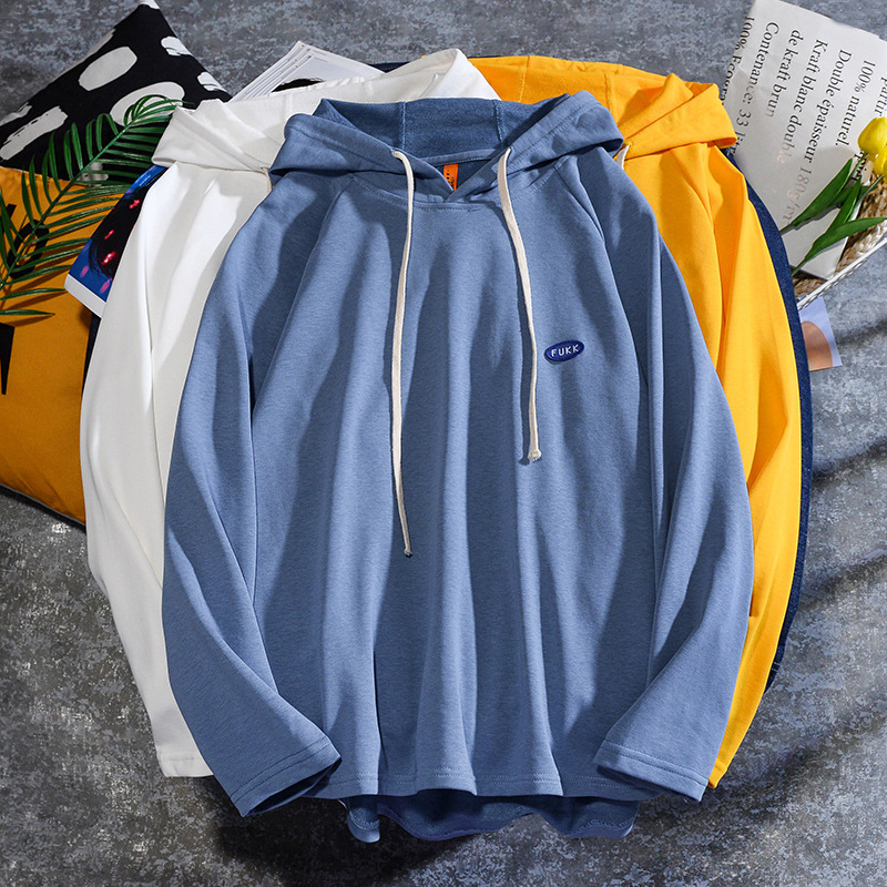 Trendy mens sweater autumn and winter new Japanese Korean hooded sweater with short front and long back loose long sleeve Hoodie for men