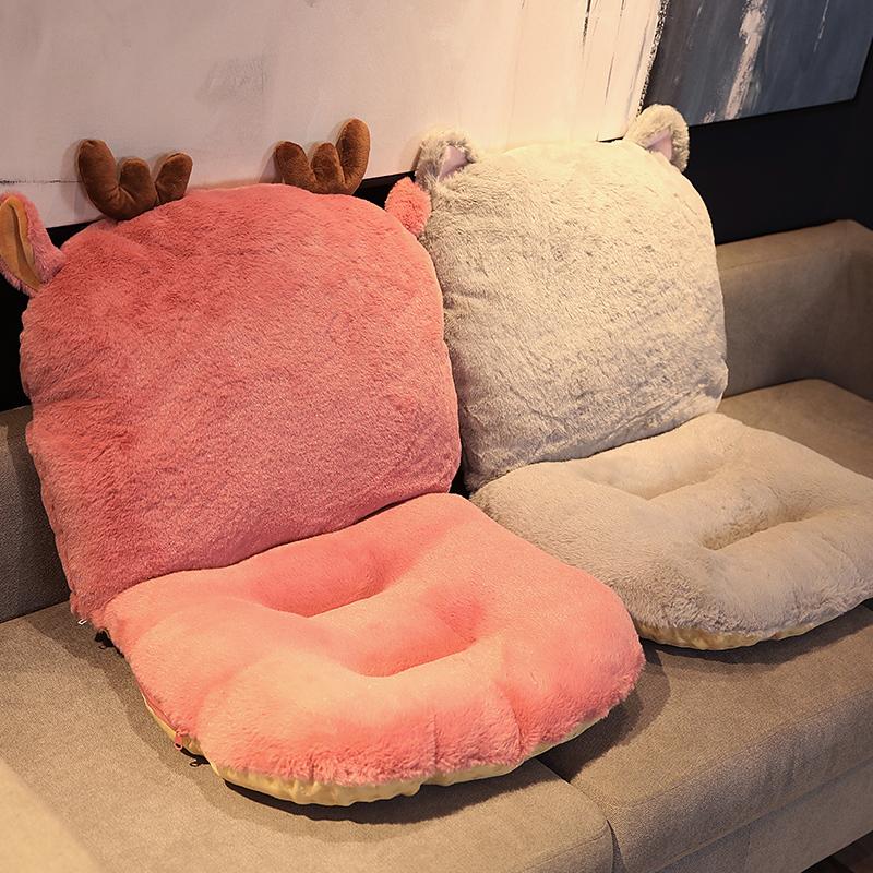 连体坐垫靠垫一体办公室椅垫学生座垫餐椅子凳子屁股垫子毛绒冬季图片