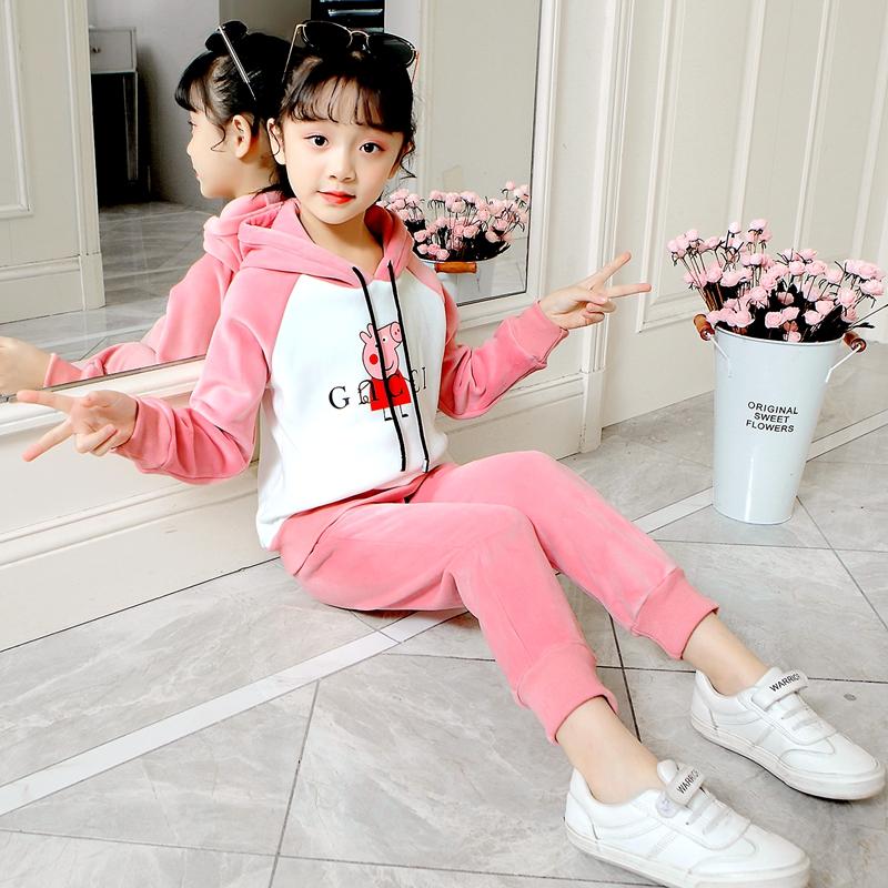 童装女童金丝绒套装2019春秋新款中大童加绒加厚儿童装运动两件套