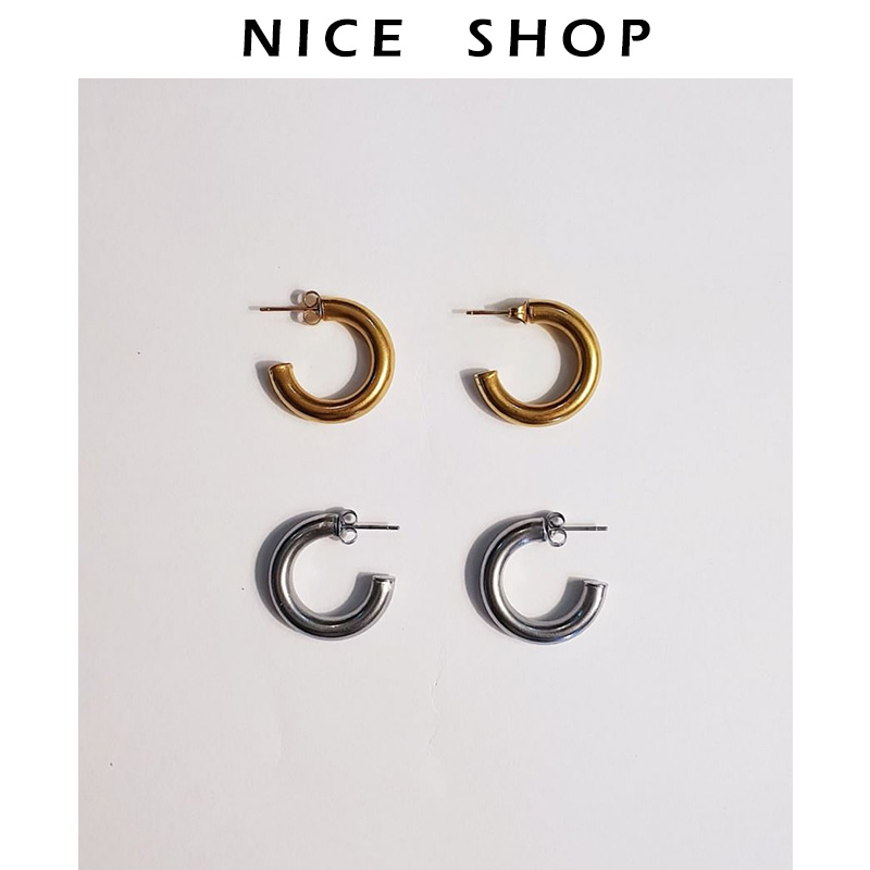 NICE 智仙生欧美银色极简C型圆圈耳环hoop耳圈极简短发耳钉男女