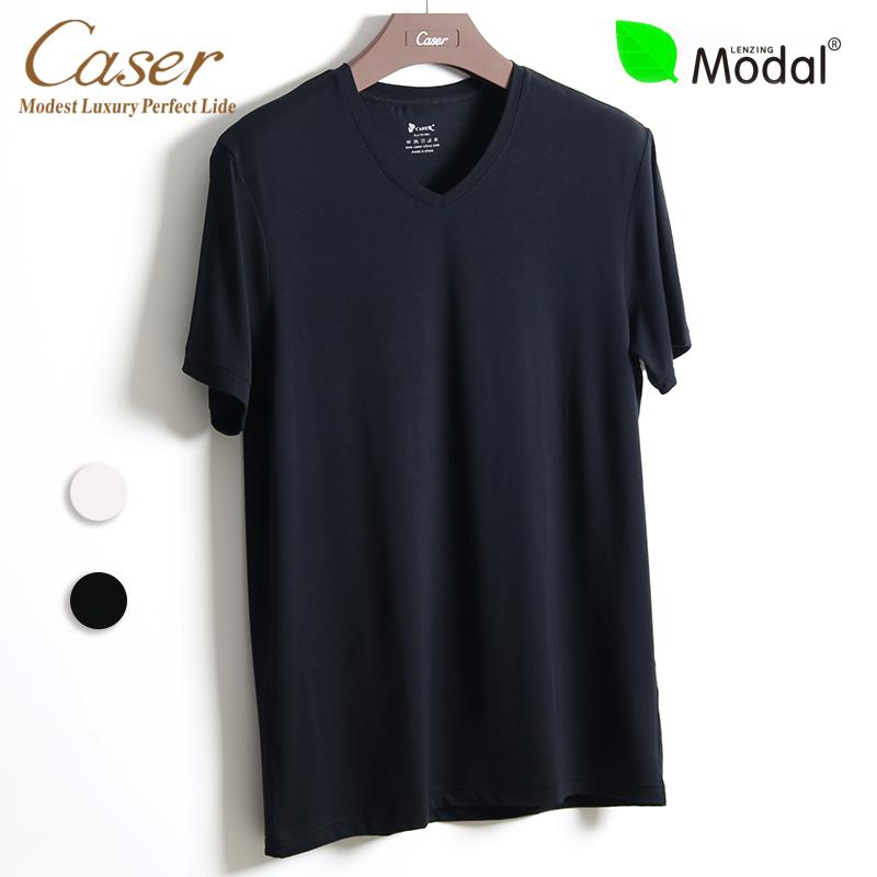 凯撒caser内衣男士超细莫代尔短袖t恤V领打底衫薄款半袖夏AE60721(用20元券)