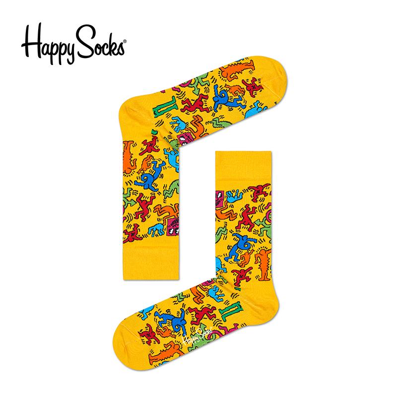 Happy Socks春夏男女袜子个性潮流时尚彩袜凯斯哈林中长筒棉袜