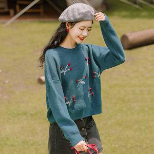 帛卡琪2020新款秋冬樱桃长袖针织衫女毛衣学生宽松短款套头上衣潮