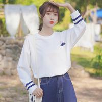 帛卡琪2021新款春秋条纹长袖白t恤女韩版卡通刺绣打底衫学生上衣