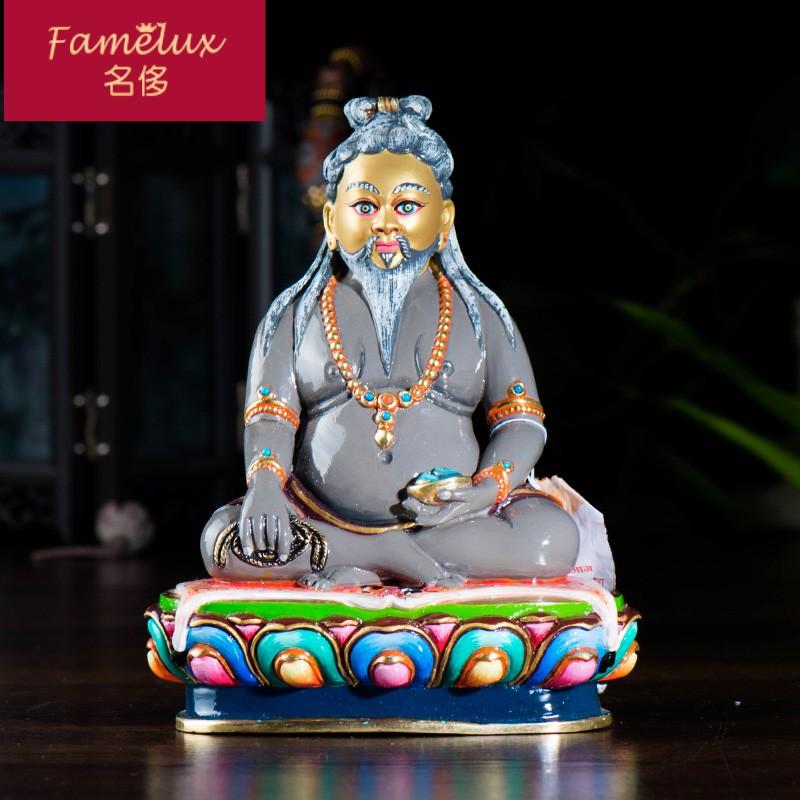 尼泊尔2020年新款纯铜潮全鎏金手工彩绘唐东杰波佛像摆设品CH0523