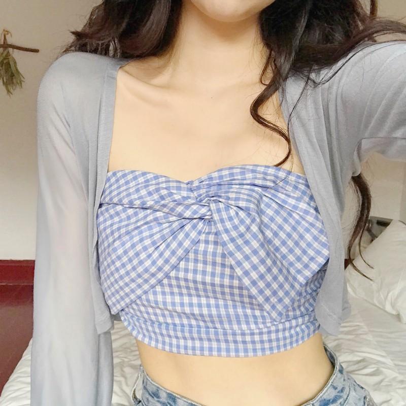 迪乐町夏装交叉蝴蝶结裹胸透气薄款长袖防晒开衫很仙的两件套洋气