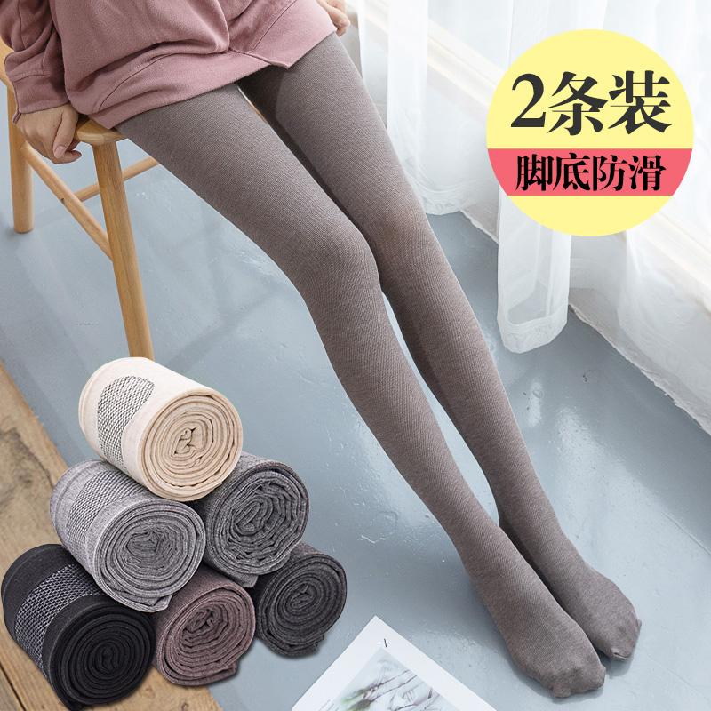 2条装螺纹打底裤袜女春秋季薄款竖纹棉加厚加绒显瘦防滑连脚裤子图片