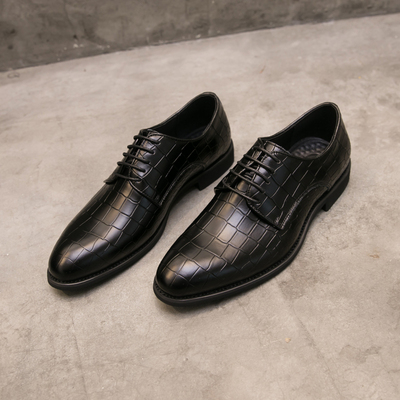 A248-72119F115韩版鳄鱼纹商务休闲男鞋英伦尖头系带发型师皮鞋
