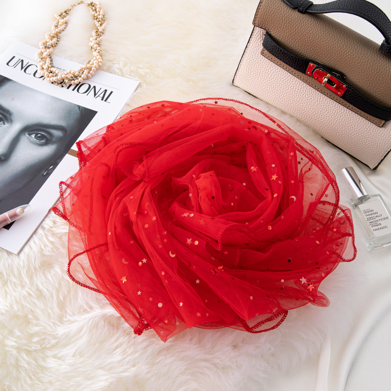Spring and autumn versatile womens thin Scarf Red Star Moon piece gauze simulation silk scarf wedding dress with long shawl
