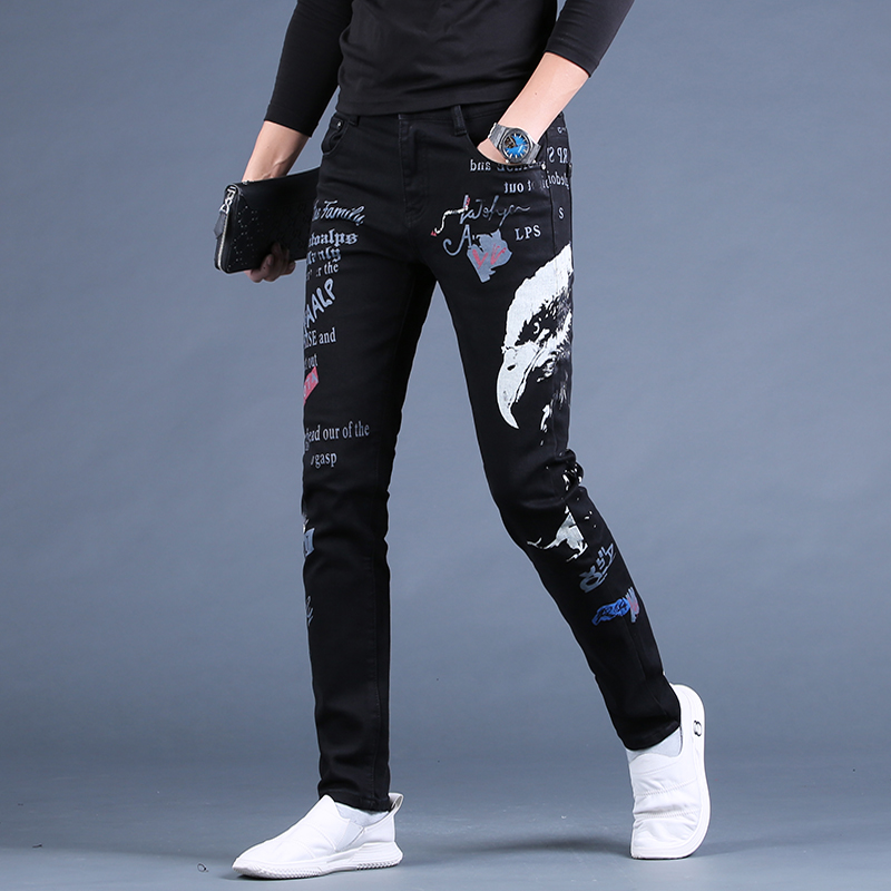 Autumn 2021 New Black Slim Skinny Jeans Mens embroidery printing trend youth leisure long pants