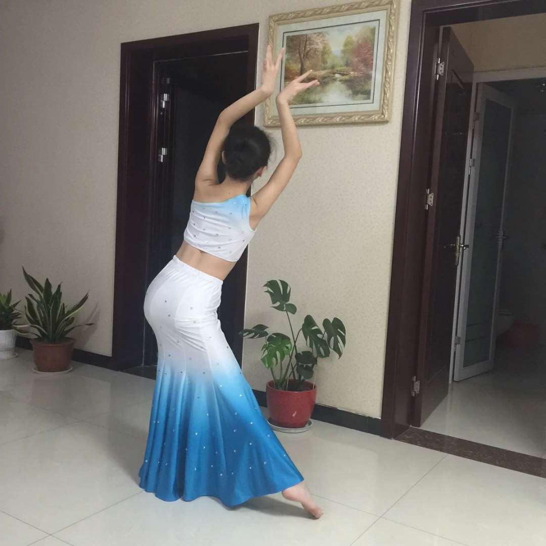 Для взрослых женский детей Dai гонка танец производительность одежда павлин танец одежда Dai гонка юбка производительность одежда рыбий хвост юбка