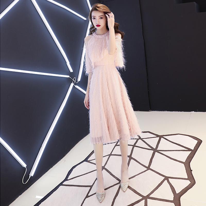 晚礼服裙女小个子宴会气质粉色洋装仙女系小礼服平时可穿年会主持