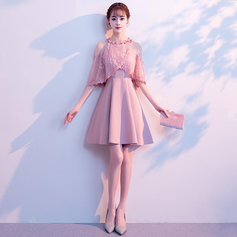 晚礼服女2018新款夏宴会洋装小礼服名媛小香风短款聚会连衣裙显瘦