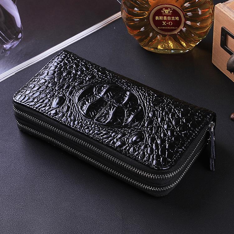 2019 new mens crocodile fashion long wallet double zipper multi-functional large capacity business handbag trend