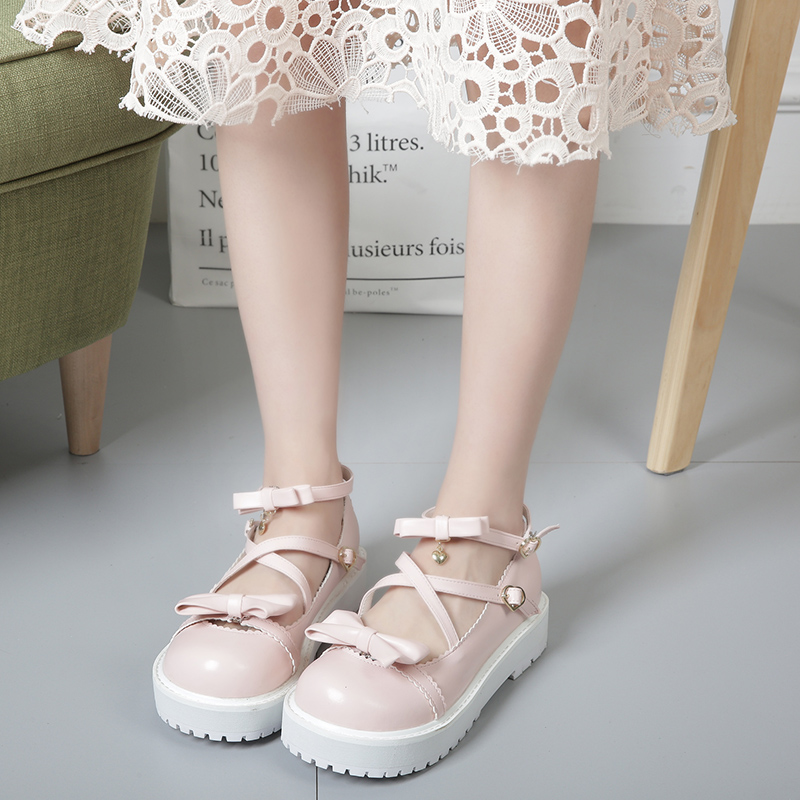Japanese sweet Lolita detachable bow tie comfortable soft girl Princess comfortable round head women's single shoes