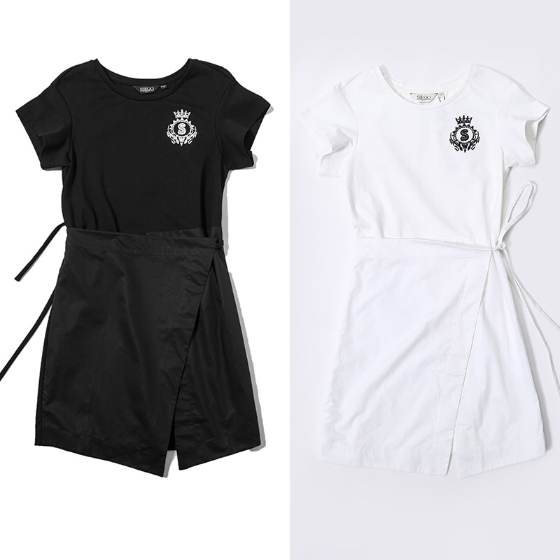 SIEGO/西蔻2018夏装专柜正品字母刺绣围裙式短袖连衣裙67330302