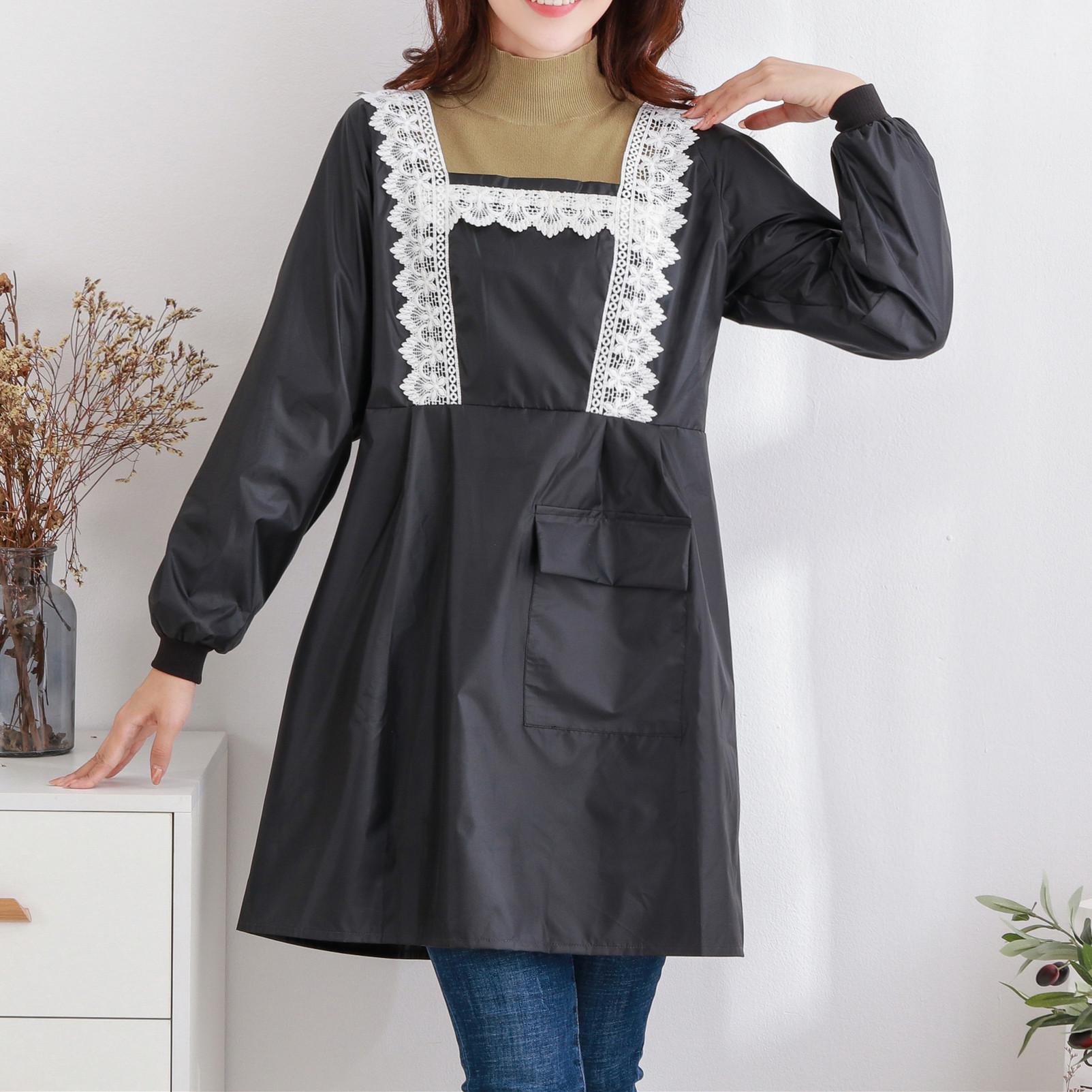 法式白色花边黑色防水防油围裙厨房围裙长袖反穿罩衣