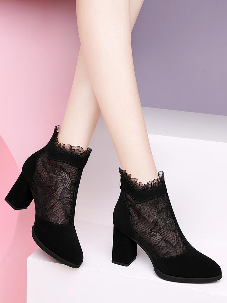 网纱凉鞋女2020新款四季妈妈女鞋夏季粗跟高跟鞋黑色蕾丝旗袍凉靴