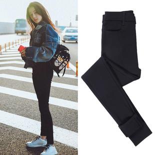 迪麗熱巴新款黑色牛仔褲女2020年時尚高腰顯瘦緊身包臀彈力小腳褲