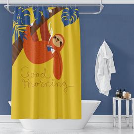 树懒浴帘防水隔断帘加厚防霉套装免打孔卫生间帘子浴室防水布挂帘