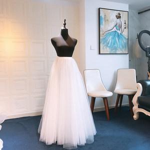 婚纱半裙轻纱半身裙森系短裙旅拍演出用便携订婚礼服蓬蓬裙势力周