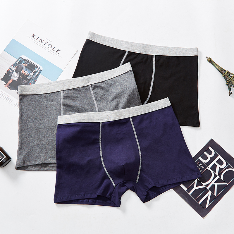 Single piece bamboo fiber flat angle mens underpants Large Size Youth cartoon boxer underwear boys simple atmosphere pants