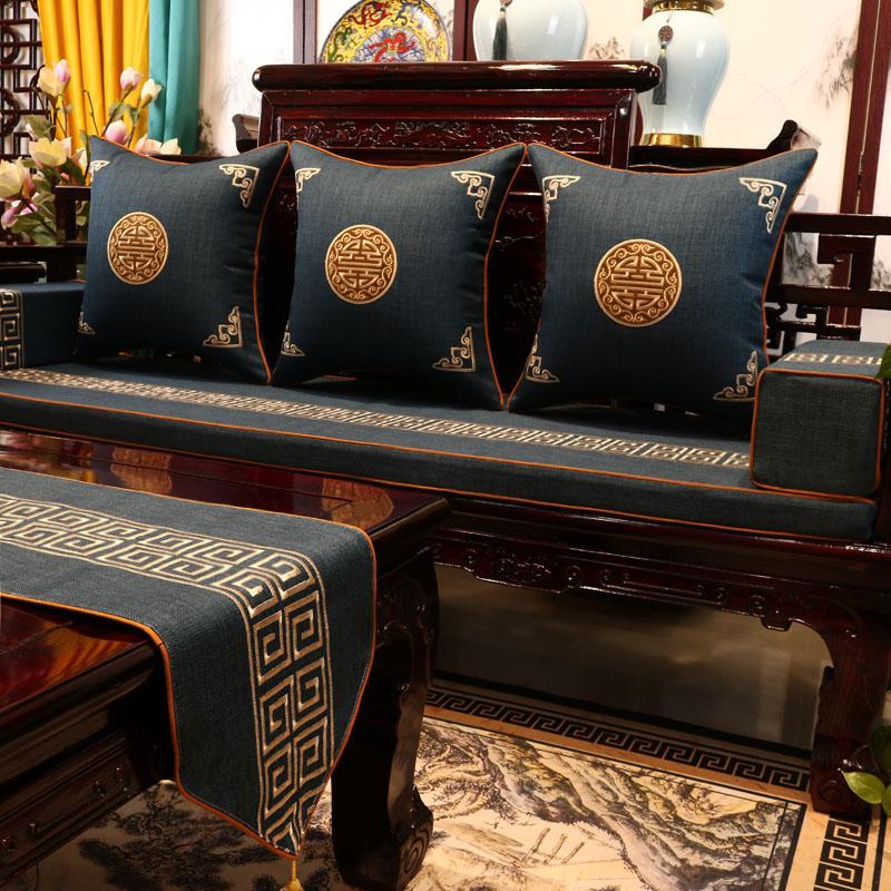 中式沙发垫红木家具坐垫带靠背中国风实木椅垫罗汉床座垫防滑定制