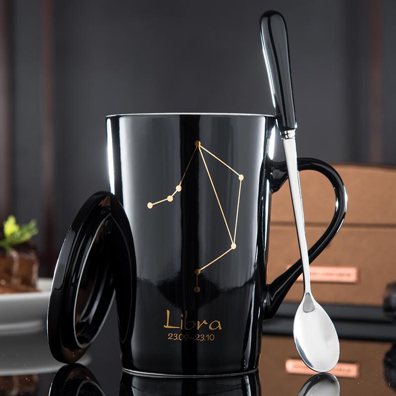 个性创意水杯十二星座陶瓷杯子带盖勺情侣早餐咖啡马克杯学生茶杯