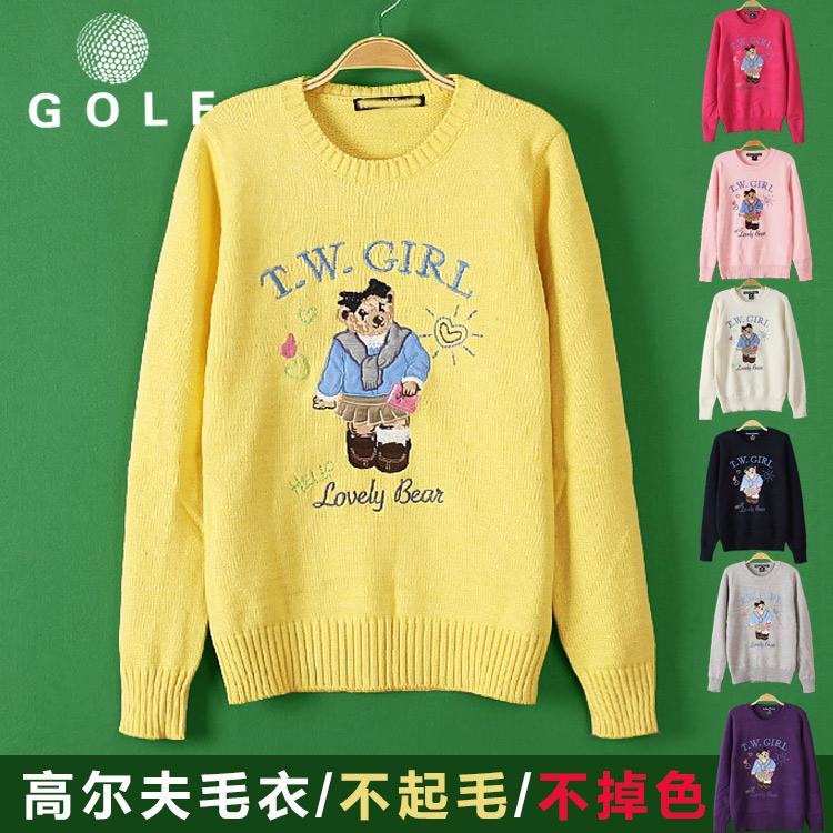 高尔夫衣服女毛衣春秋长袖针织外套修身运动球衣GOLF女装套头上衣