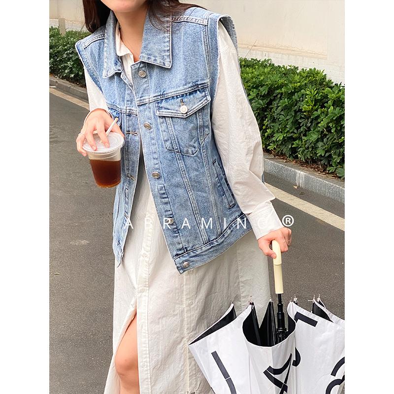 Cowboy vest female 2021 spring and autumn Korean version versatile simple washing water used sleeveless jacket vest coat