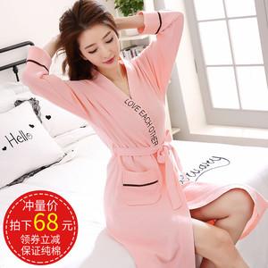 女士韩版睡衣睡袍女春秋长款纯棉可爱日式长袖浴袍薄款居家服浴衣