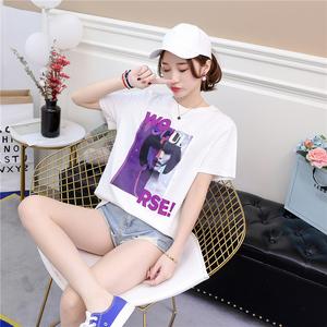 实拍65棉质短袖t恤女装2018夏装新款韩版宽松百搭体恤