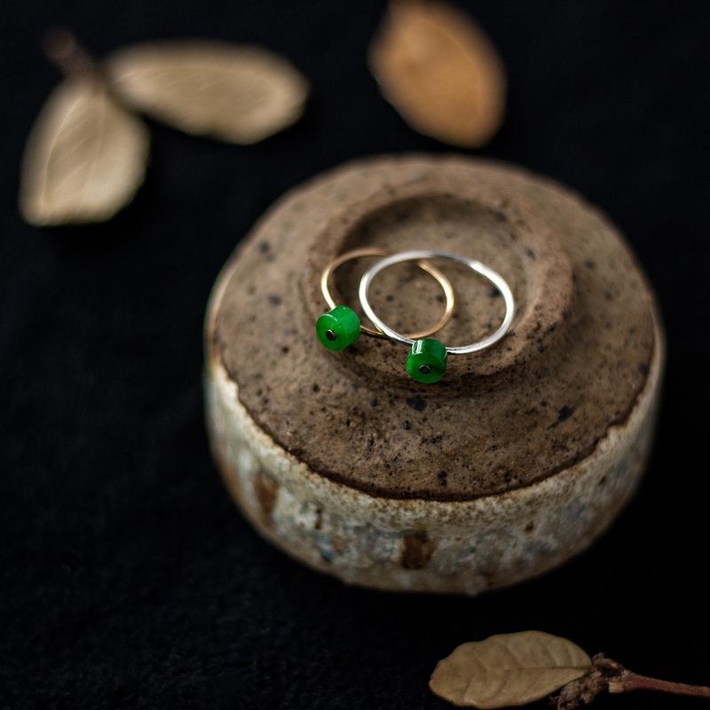 触首饰原创手作翡翠戒指纯银指环礼物18k金天然玉石镶嵌手工定制