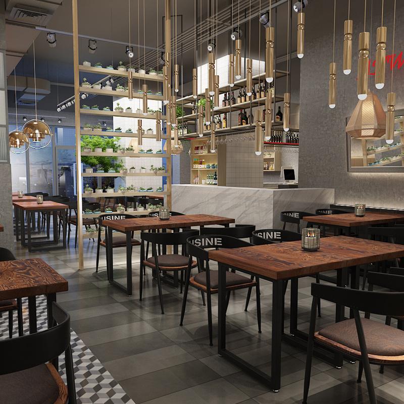 现代简约实木餐桌工业风2人桌正方形咖啡奶茶店餐厅桌椅组合loft