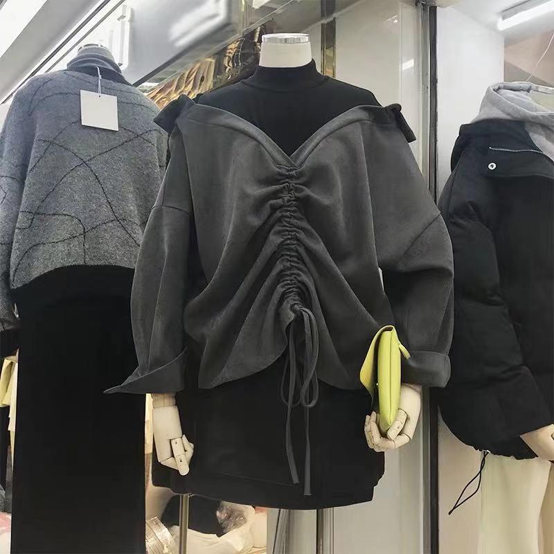 韩国东大门女装2019秋冬新款拼接假两件垂坠感衬衫女设计感小众