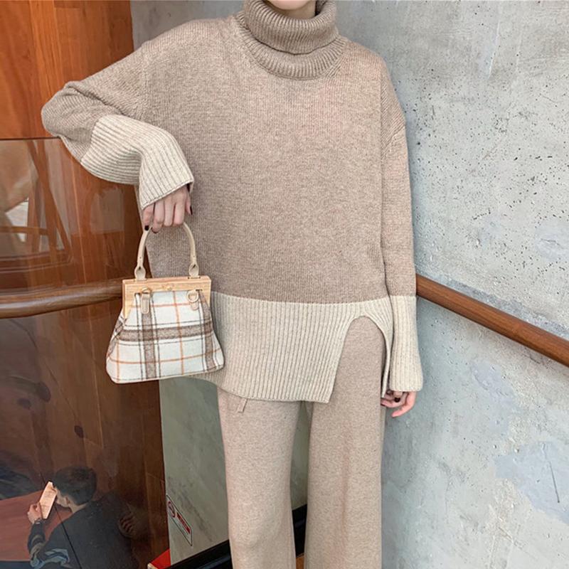 1889实拍秋冬装新款胖mm200斤大码女装宽松显瘦高领开叉长袖毛衣