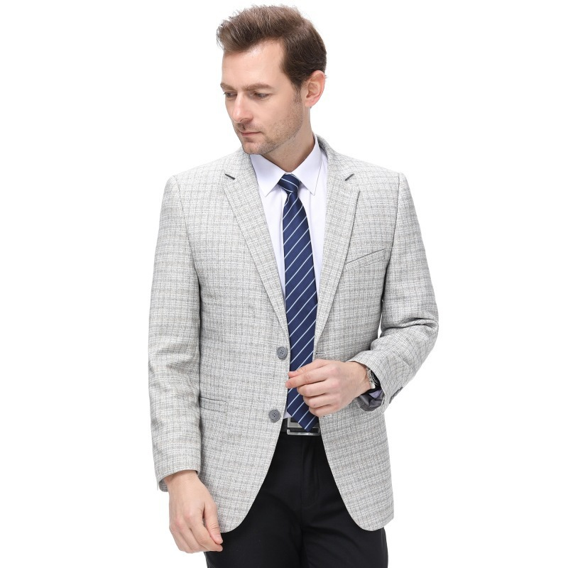 Mens suit autumn and winter fashion leisure middle aged wool single suit Plaid fashion mens coat one grain double breasted