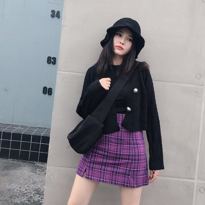 紫色格子双开叉半身裙ins超火的包臀防走光高腰显瘦a字短裙女春夏